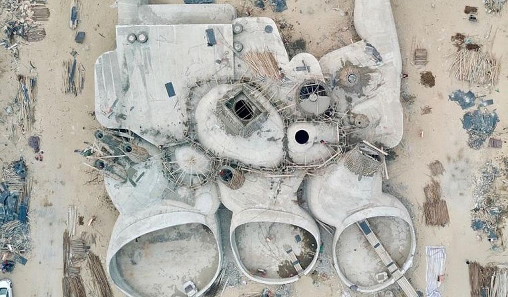 Las conchas de hormigón de OPEN Architecture comienzan a tomar forma en China