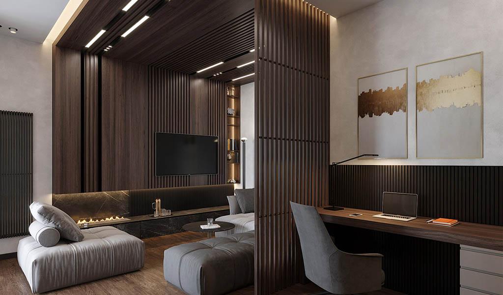 Lujoso interior con paredes de listones de madera