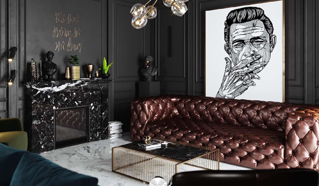 Inspiración en el diseño de interiores: Una Casa Lujosamente Oscura y Artística por Ramzy Alaa Interiors