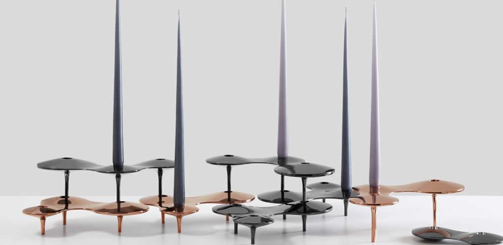 Las figuras amorfas de los portavelas de Zaha Hadid