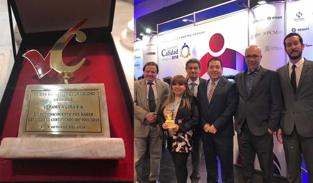 Celima obtuvo premio a la implementación y gestión de calidad