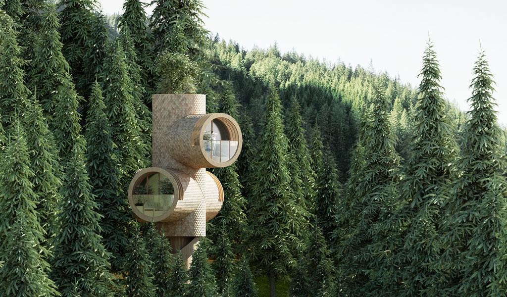 Studio Precht diseña prototipo modular de casa del árbol que se mimetiza con el entorno