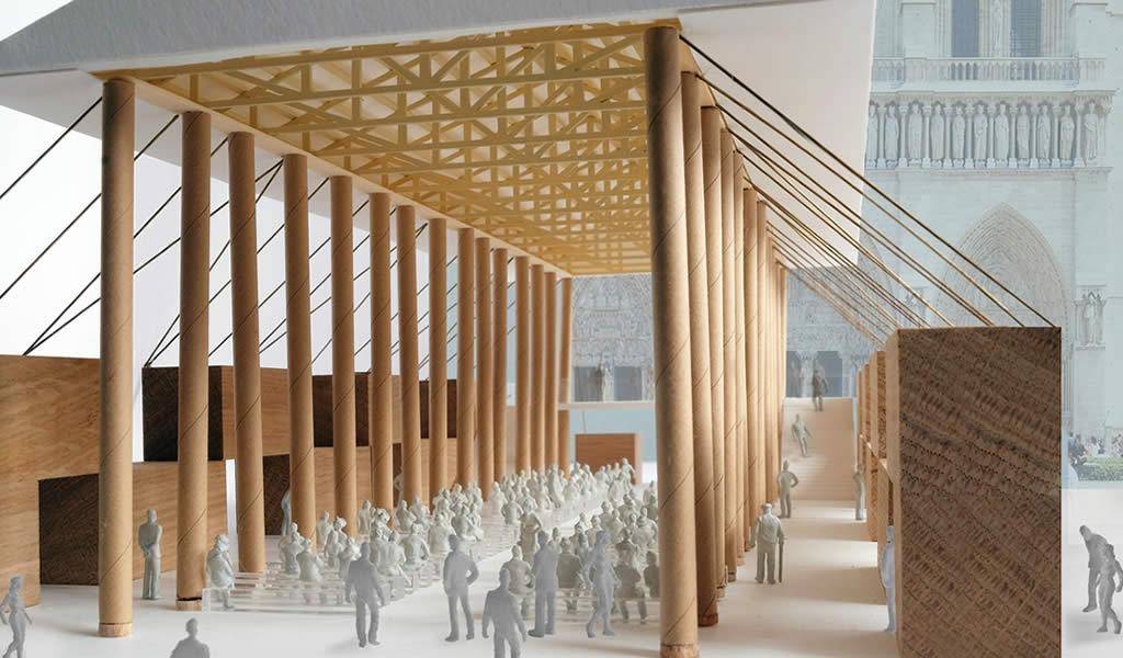 Shigeru Ban diseña pabellón temporal en Notre-Dame
