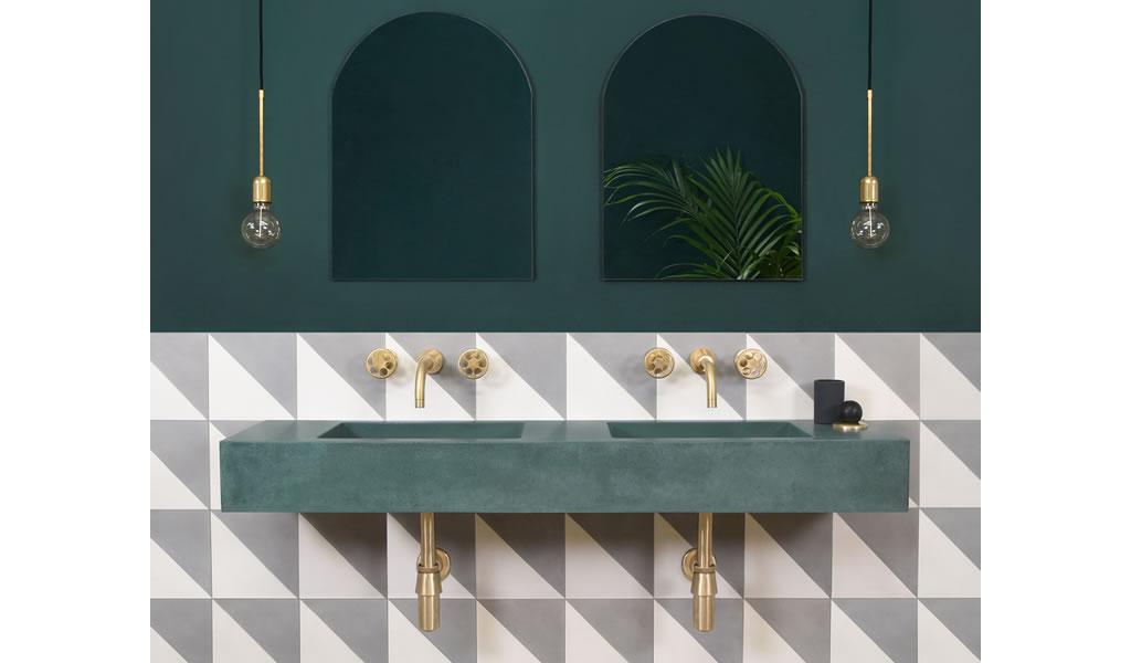 Lavamanos de cemento: Baños con el color y textura del hormigón pigmentado