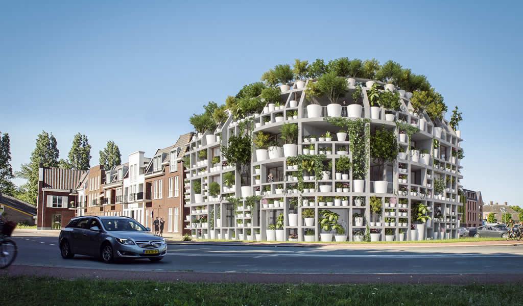 MVRDV diseña una fachada de plantas en macetas para su nuevo proyecto de uso mixto en Holanda