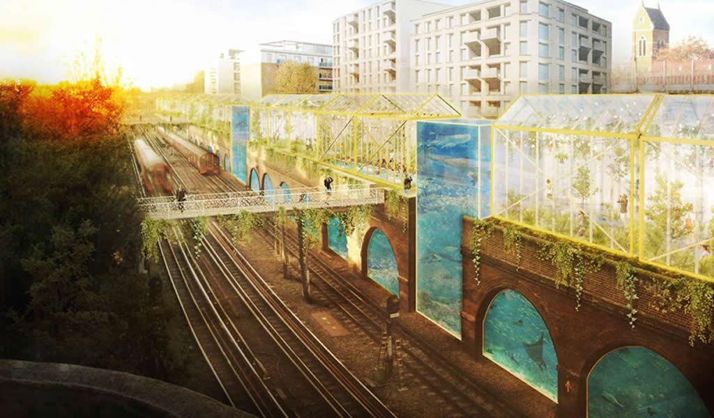 La nueva High Line de Londres revitaliza un espacio en desuso para integrar invernaderos y piscinas