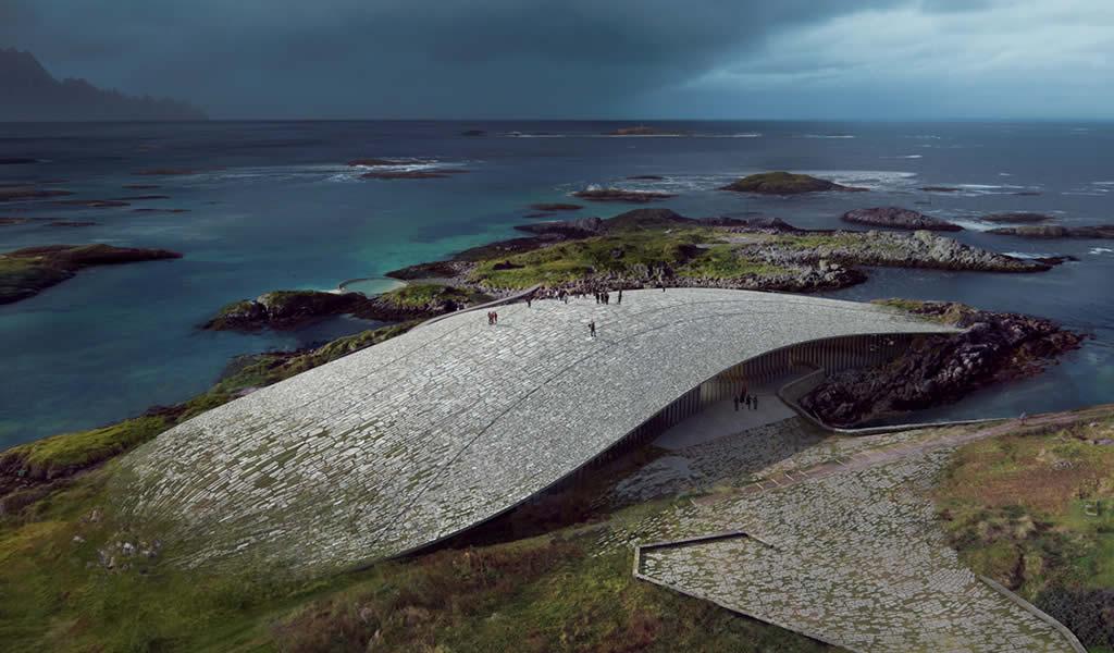 Dorte Mandrup diseña edificio cultural cubierto de piedras en Noruega