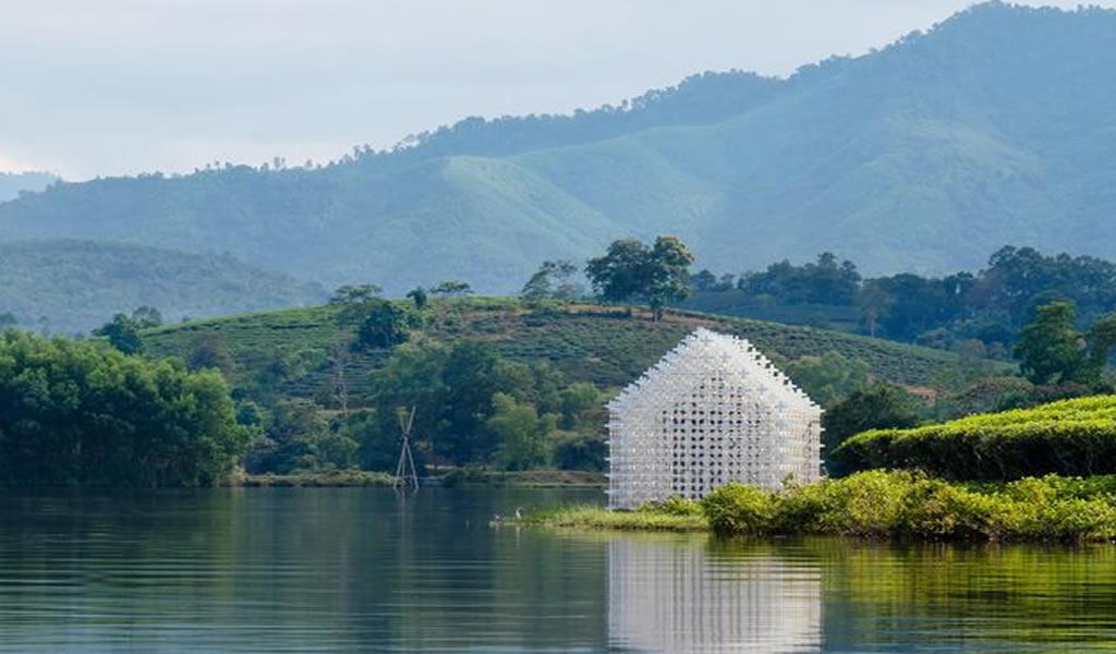 Un refugio entre campos de cultivos de té verde