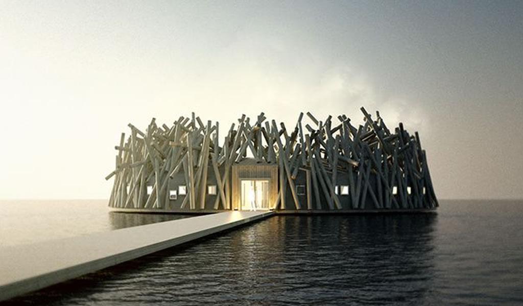 Arctic Bath, un Hotel-Spa flotante en aguas suecas con vistas a las Auroras Boreales