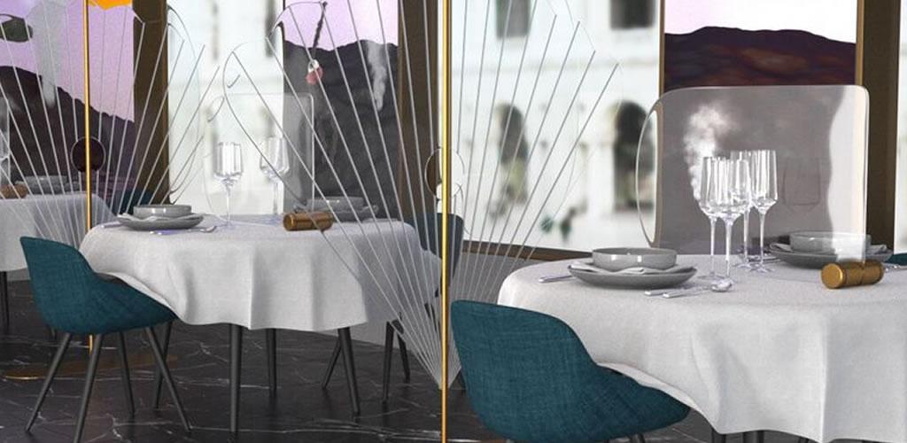 Matteo Cibic diseña estas pantallas de vidrio para evitar contagios del COVID-19