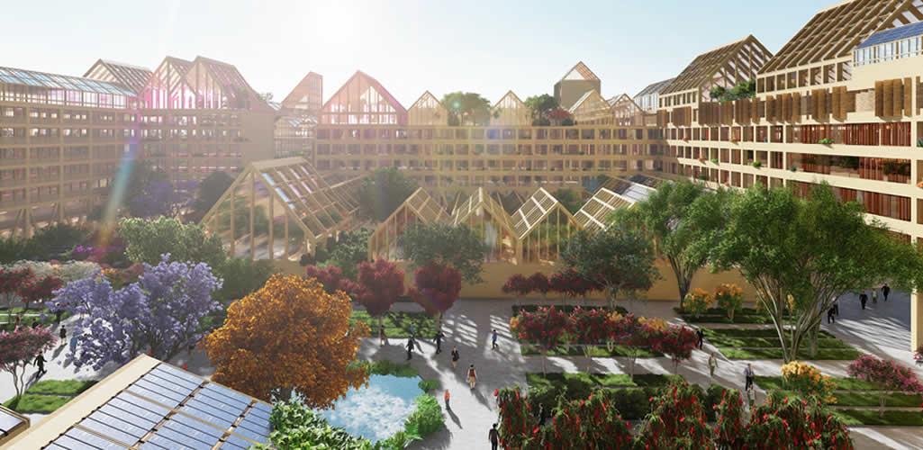 Una ciudad autosuficiente de madera con viviendas post-covid