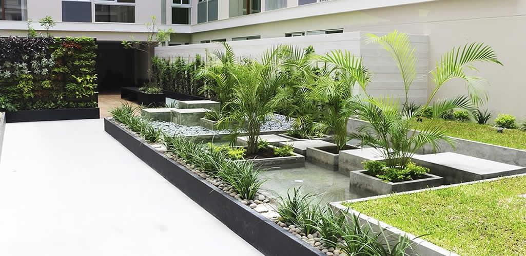 Paisajismo con jardineras y jardines verticales
