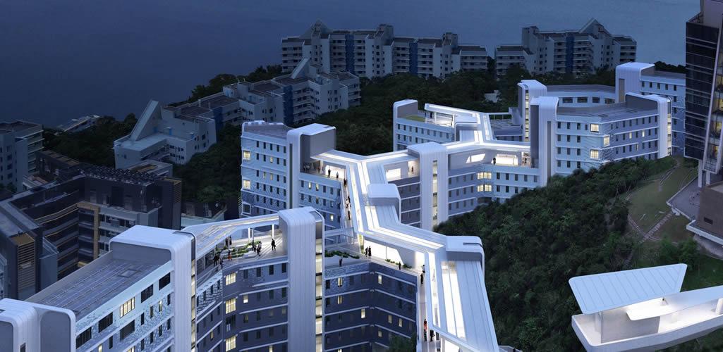 El complejo estudiantil en la universidad de Hong Kong de Zaha Hadid