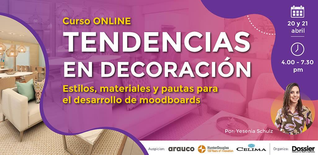 """Dossier presenta curso online: """"Tendencias en decoración"""""""