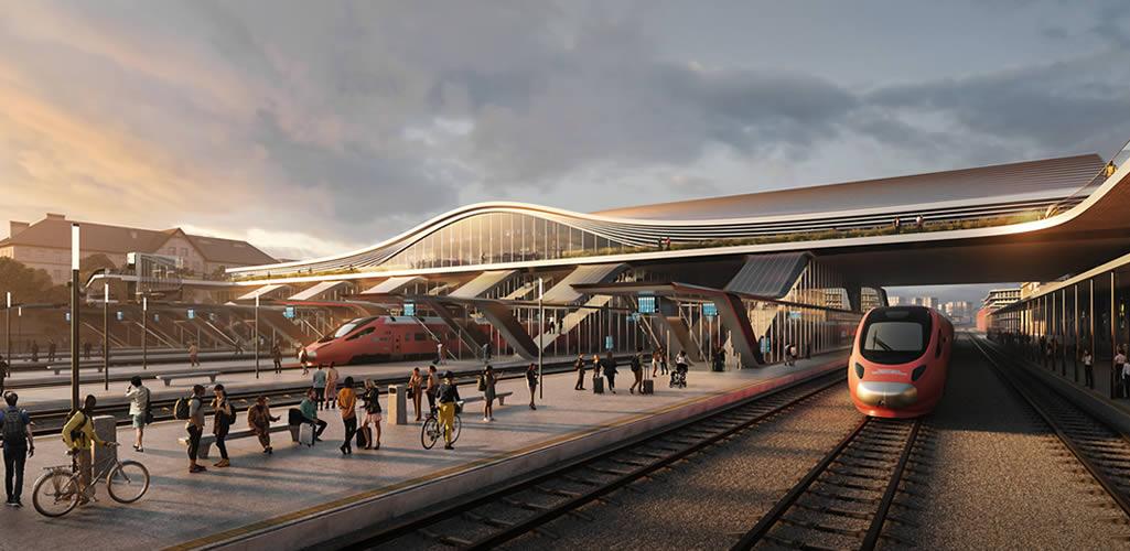 """""""Conexión Verde"""": La propuesta de Zaha Hadid Architects para transformar la estación de trenes de Vilnius, Lituania"""