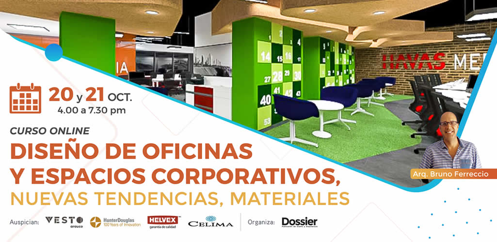 """Dossier presenta el curso online: """"Diseño de oficinas y espacios corporativos, nuevas tendencias, materiales"""""""